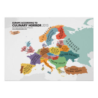 Culinary Horror Map of Europe Poster