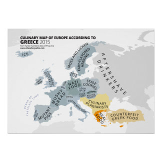 Culinary Map of Europe According to Greece Poster