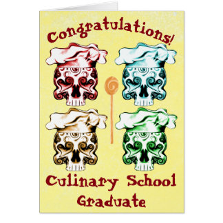 Culinary School Graduate Chef Skulls Greeting Card