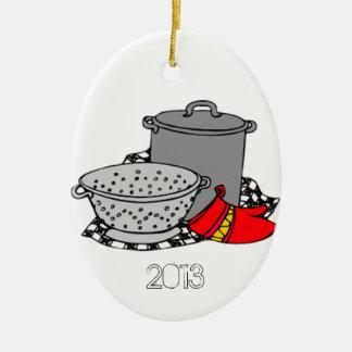 Culinary School Graduate Cooking Pot & Strainer Ceramic Ornament