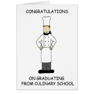 Culinary school graduation congratulations. card