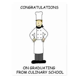 Culinary school graduation congratulations. postcard