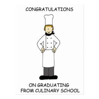 Culinary school lady graduate, congratulations. postcard