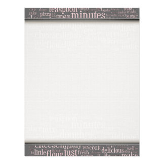 Culinary Terms Word Cloud Writing Paper Letterhead