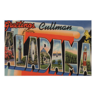 Cullman, Alabama - Large Letter Scenes Poster