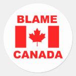 Culpa Canadá Pegatinas Redondas