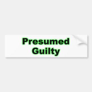 Culpable supuesta pegatina para auto