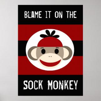 Cúlpelo en el poster negro rojo del mono del calce