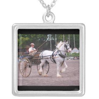 culpeper va draft horse show square pendant necklace