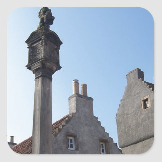 Culross Scotland Mercat Cross Square Sticker