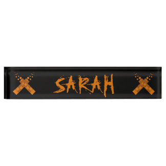 Cult cross Gothic ritual Halloween Pagan fire art Name Plate