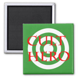 Cult Hero in Red 2 Inch Square Magnet