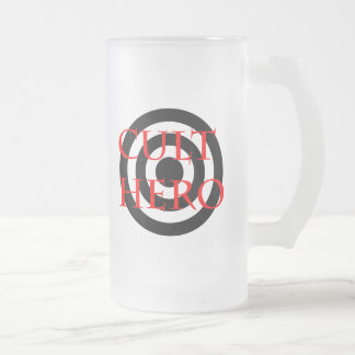 Cult Hero in Red Frosted Glass Beer Mug