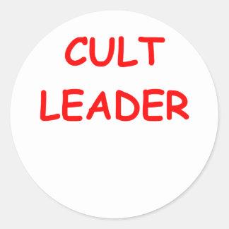 cult leader round stickers