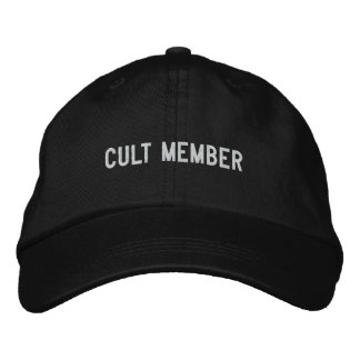 cult member embroidered hat