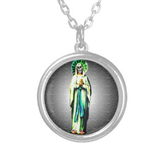 Cult Of Santa Muerte Silver Plated Necklace