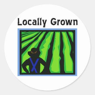 Cultivado localmente pegatina redonda