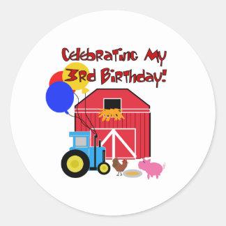 Cultive el 3ro cumpleaños pegatina redonda