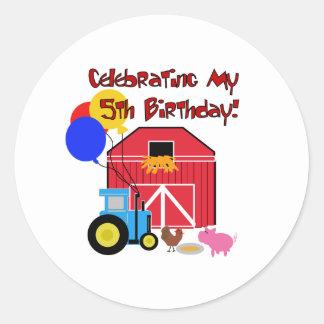 Cultive el 5to cumpleaños pegatina redonda