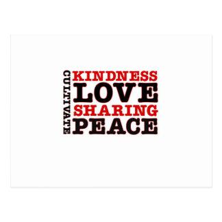 Cultive el amor de la amabilidad que comparte paz postal