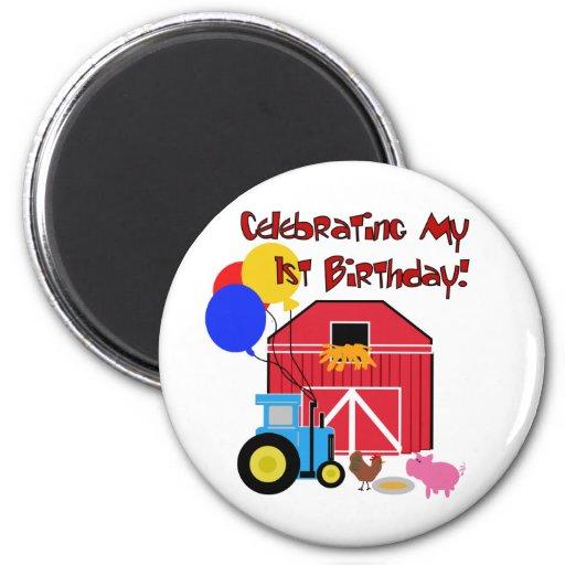 Cultive las 1ras camisetas y regalos del cumpleaño imán redondo 5 cm