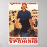Cultivo colectivo de URSS Unión Soviética 1934 Poster