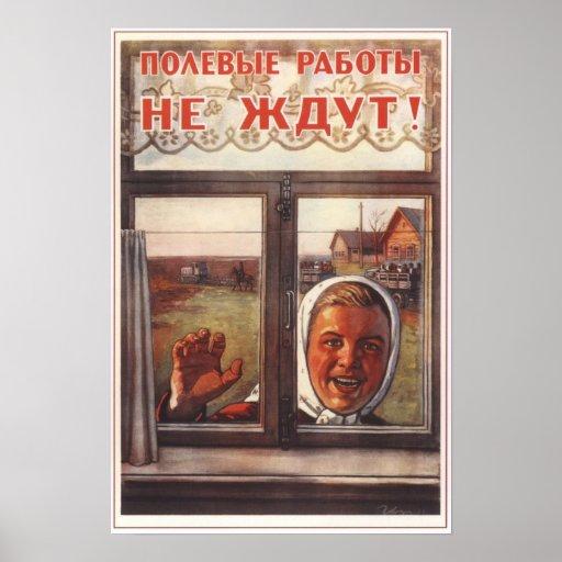 Cultivo colectivo de URSS Unión Soviética 1954 Póster