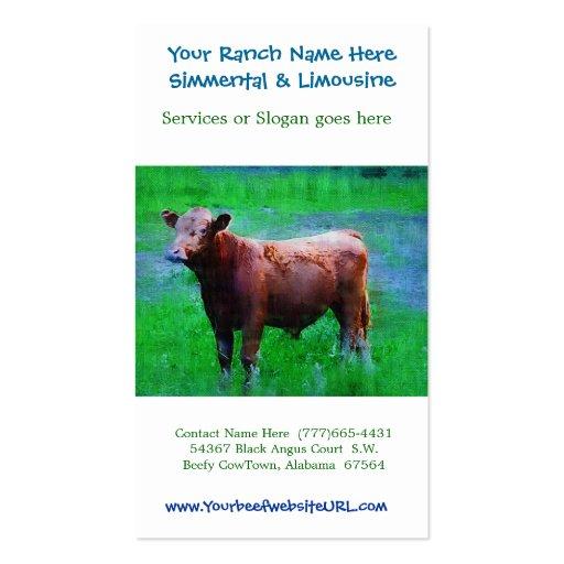 Cultivo del ganado del rancho de la carne de vaca tarjetas de negocios
