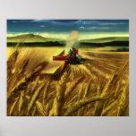 Cultivo del trigo del vintage poster