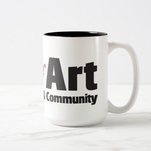 Culto de la taza del logotipo del tono del arte do