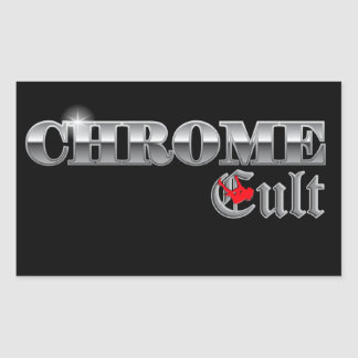 Culto del cromo en el poste pegatina rectangular