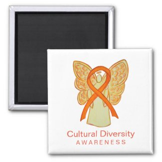 Cultural Diversity Awareness Ribbon Angel Magnets