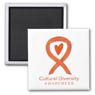 Cultural Diversity Awareness Ribbon Fridge Magnets