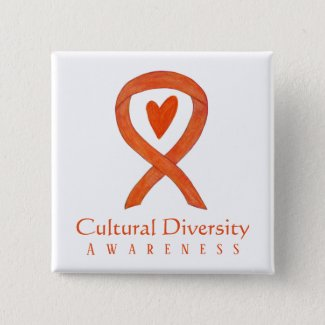 Cultural Diversity Awareness Ribbon Pin Button