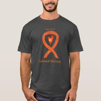 Cultural Diversity Orange Awareness Ribbon Shirts