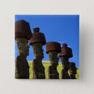 Cultural statues, Easter Island, Polynesia Pinback Button