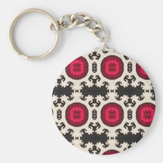 Cultural, Tribal, Indian, Colorful Vintage Print Basic Round Button Keychain