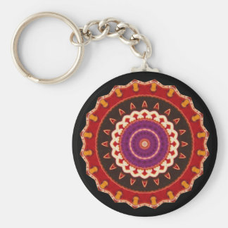 Cultural, Tribal, Indian, Colorful Vintage Print Keychain