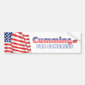 Cummings for Congress Patriotic American Flag Car Bumper Sticker