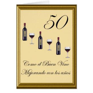 cumpleaño 50 vino card