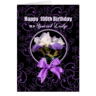 Cumpleaños - 100o - señora especial - iris púrpura tarjeta de felicitación