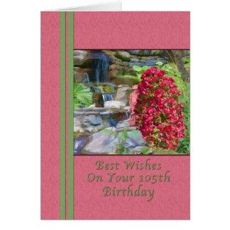 Cumpleaños, 105o, Bougainvillea, pájaros, cascada Tarjeta De Felicitación