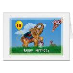 Cumpleaños, 10mo, elefante, jirafa, conejo, globo tarjeta de felicitación