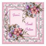Cumpleaños 16 2 florales rosados bonitos del dulce invitación personalizada