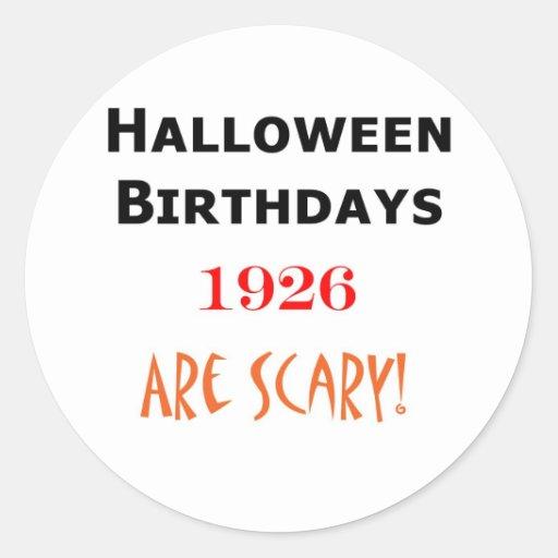 cumpleaños 1926 de Halloween Pegatina Redonda