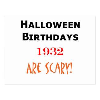 cumpleaños 1932 de Halloween Postal