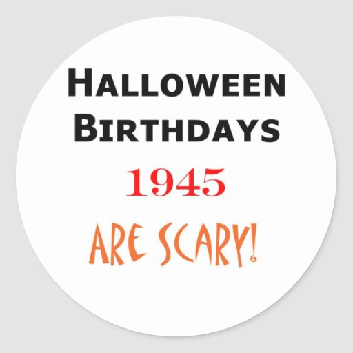 cumpleaños 1945 de Halloween Pegatina Redonda