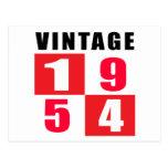 Cumpleaños 1954 del vintage postales
