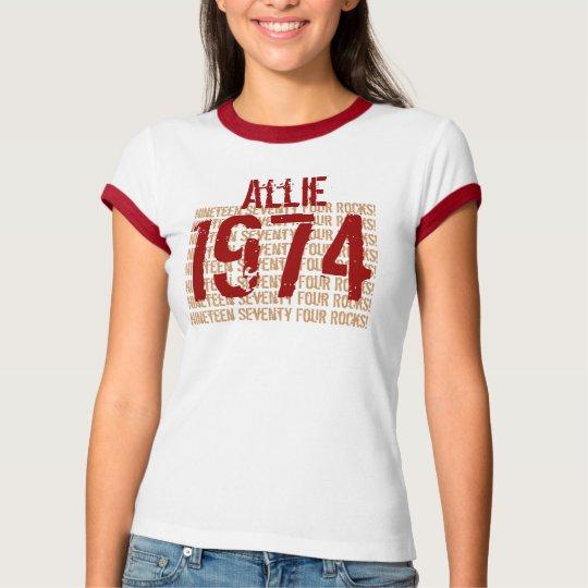 Cumpleaños 1974 del año del vintage 40.o rojo y playera