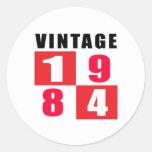 Cumpleaños 1984 del vintage etiqueta redonda